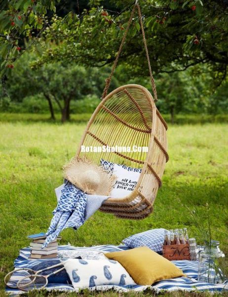 swing hanging cair natural rattan